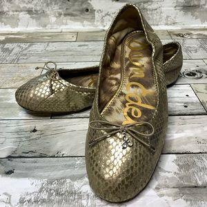 Sam Edelman Felicia leather gold snake skin flats